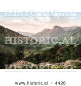Historical Photochrom of the Great Langdale Valley in Windermere, Cumbria, Lake District, England by Al