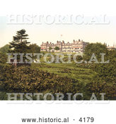 Historical Photochrom of the Grounds of the Wellington Hotel in Royal Tunbridge Wells, Kent, England, United Kingdom by Al