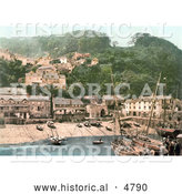 Historical Photochrom of the Harbor and Red Lion Hotel in Clovelly Devon England by Al