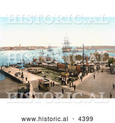 Historical Photochrom of the Harbour in Portsmouth, Hampshire, England by Al