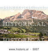 Historical Photochrom of the Hotel and Croda Rossa, Platzweisen, Tyrol, Austria by Al