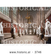 Historical Photochrom of the Interior of St Stephen's Hall with Statues in the Houses of Parliament London England UK by Al