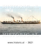 Historical Photochrom of the Koh-i-noor Paddle Steamer by Al