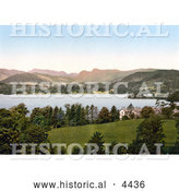 Historical Photochrom of the Lake and Langdale Pikes in the Great Langdale Valley in Windermere, Cumbria, Lake District, England by Al