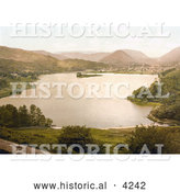Historical Photochrom of the Lakefront Village of Grasmere Lake District Cumbria England UK by Al