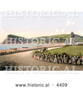 Historical Photochrom of the Lighthouse, Beach and the Ness in Teignmouth, Devon, England, United Kingdom by Al
