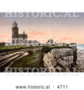 Historical Photochrom of the Lighthouse of Hunstanton in Norfolk England by Al