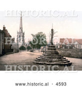 Historical Photochrom of the Market Cross, St Wystan's Church and Repton School in Derbyshire England by Al