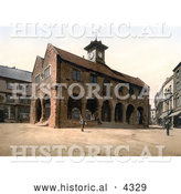 Historical Photochrom of the Market Hall in Herefordshire, Ross-on-Wye, England by Al