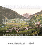Historical Photochrom of the Oetz Valley with Tschirgant, Tyrol, Austria by Al