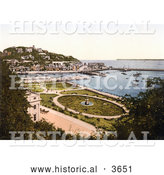 Historical Photochrom of the Park Gardens and Waterfront Buildings on the Harbour in Torquay Torbay Devon England UK by Al