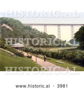 Historical Photochrom of the Path Through the Gardens near the Viaduct in Saltburn-by-the-Sea Redcar and Cleveland North Yorkshire England UK by Al