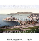 Historical Photochrom of the Pier and Drake's Island in Plymouth, Dorset, England, UK by Al