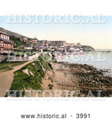 Historical Photochrom of the Promenade and Bay of Ventnor Isle of Wight England UK by Al