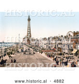 Historical Photochrom of the Promenade near the Tower in Blackpool, Lancashire, England by Al
