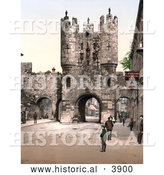 Historical Photochrom of the Punch Bowl Inn near the Micklegate Bar in York North Yorkshire England by Al