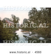Historical Photochrom of the River Monnow in Monmouth Wales Monmouthshire Gwent England UK by Al