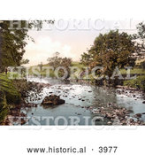 Historical Photochrom of the River Ribble Flowing Through Horton North Yorkshire England by Al