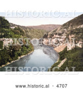 Historical Photochrom of the River Wye in Monsal Dale, Water-come-Jolly, Derbyshire, England by Al