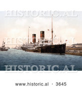 Historical Photochrom of the RMS Campania Steamboat on the Mersey River in England by Al