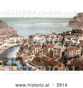 Historical Photochrom of the Roxby Beck River Through the Village of Staithes in North Yorkshire England UK by Al