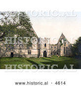 Historical Photochrom of the Ruins of Wingfield Manor in Derbyshire East Midlands England by Al
