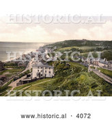 Historical Photochrom of the Sandgate Castle on the Beach in Sandgate Shepway Kent England UK by Al