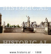 Historical Photochrom of the Sarindar Fountain in Bukharest, Roumania by Al