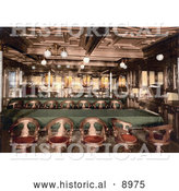 Historical Photochrom of the Second Class Dining Room on the Konig Albert Steamship, North German Lloyd, Royal Mail Steamers by Al