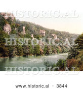 Historical Photochrom of the Seven Sisters Rocks on the River Wye in Monmouth Wales Monmouthshire England UK by Al