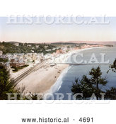 Historical Photochrom of the South Devon Railway Sea Wall and Seafront Buildings in Dawlish Devon England by Al