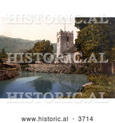 Historical Photochrom of the St Oswald's Church on the Waterfront in Grasmere Lake District Cumbria England UK by Al