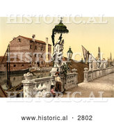 Historical Photochrom of the Statue of Madonna, Chioggia, Venice by Al