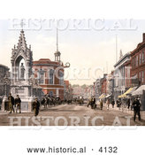 Historical Photochrom of the Statue of Queen Victoria on High Street in Maidstone Kent England UK by Al