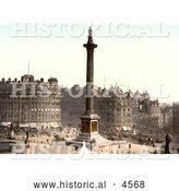 Historical Photochrom of the Statues, Water Fountains and Nelson's Column in Trafalgar Square, London, England by Al