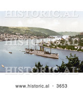 Historical Photochrom of the Steamer RMS Dunottar Castle by Al