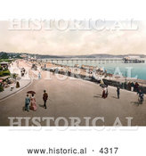 Historical Photochrom of the Street and Promenade near the Beach and Pier in Paignton Devon England UK by Al