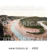 Historical Photochrom of the Tidenham Bend, Stream and Cliffs in Chepstow, Wales, England by Al
