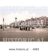Historical Photochrom of the Tower and Promenade in Morecambe, Lancashire, England, United Kingdom by Al