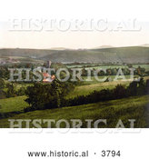 Historical Photochrom of the Tower of the Church the Yes-Tor and the Beacon Okehampton Devon England UK by Al