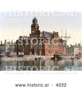 Historical Photochrom of the Town Hall on the Quay in Yarmouth Norfolk England UK by Al