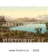 Historical Photochrom of the Town of Lugano and Lake, Switzerland by Al