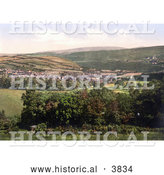 Historical Photochrom of the Town of Okehampton in Devon England UK by Al