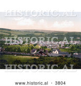 Historical Photochrom of the Train Station and Town of Okehampton Devon England UK by Al