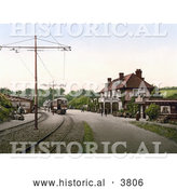 Historical Photochrom of the Tram Station at the Groudle Glen Hotel in Onchan on the Isle of Man England by Al
