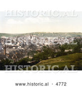 Historical Photochrom of the Truro Cathedral and Carvedras Viaduct in Truro Cornwall England by Al