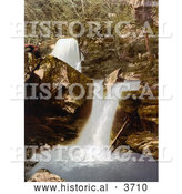 Historical Photochrom of the Upper Falls Waterfalls in Glen Lyn Gorge in Lynton and Lynmouth Devon England UK by Al