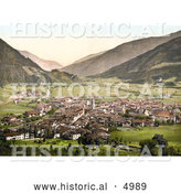 Historical Photochrom of the Valley Village of Sterzing, Tyrol, Austria by Al
