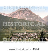 Historical Photochrom of the Valley Village of Stubaital, Vulpmes, Tyrol, Austria by Al