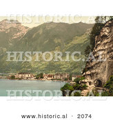 Historical Photochrom of the Village of Brunnen and the Gothard Tunnel, Switzerland by Al